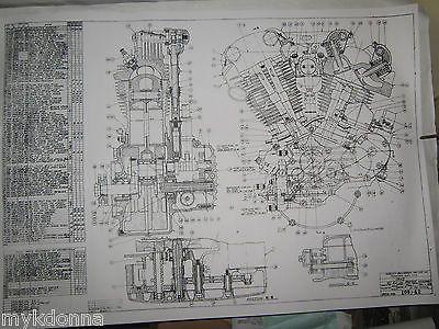 HARLEY DAVIDSON Plan Drawing Print 61ci KNUCKLEHEAD Engine BLUEPRINT - copy blueprint engines bp3501ctc1