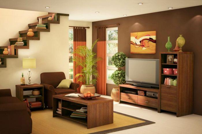 Kleines Wohnzimmer Einrichten Braune Wandfarbe Sessel Kommode Regal