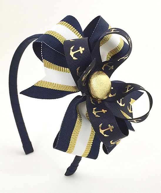 Black & Gold Anchor Bow Headband