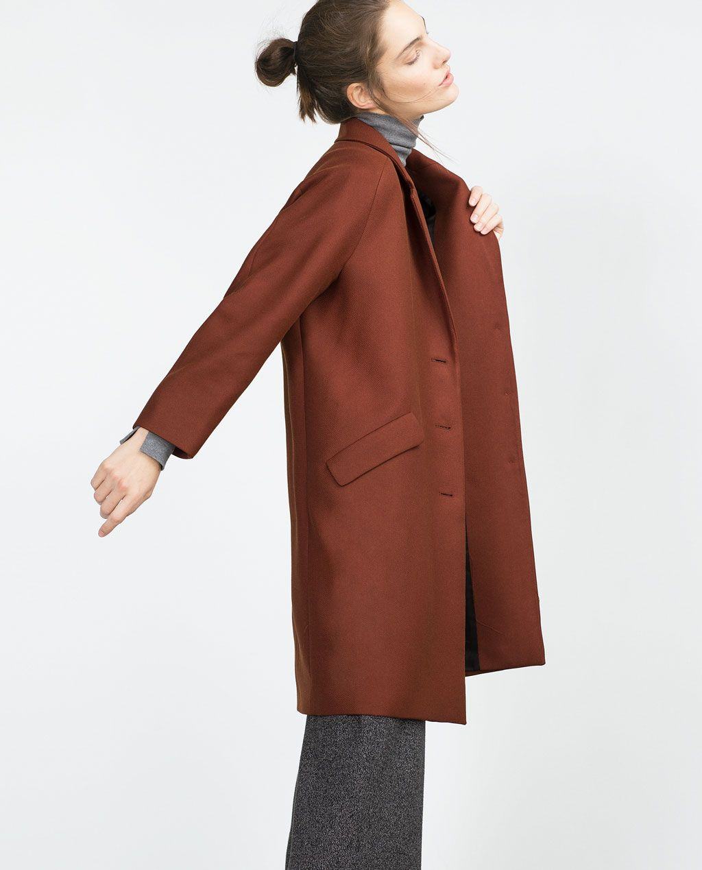 Coat With Flap Pockets Coats Outerwear Woman Zara United
