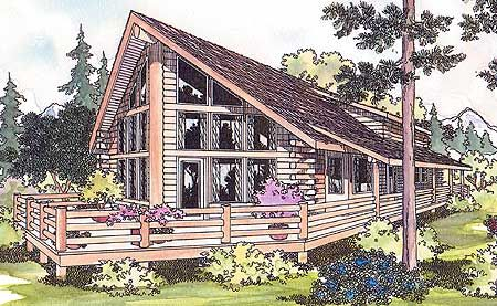 Contemporary Log Retreat - 72529DA   2nd Floor Master Suite, CAD Available, Loft, Log, MBR Sitting Area, Mountain, Narrow Lot, PDF, Photo Gallery, Vacation, Wrap Around Porch   Architectural Designs