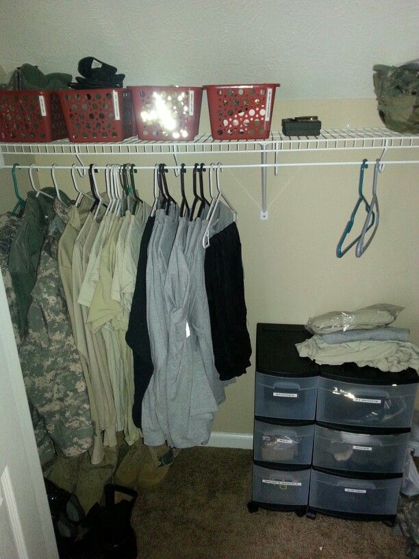 Military Closet Organization Red Baskets Are Separated Out Into 4 Diffe Categories Hats Gloves Belts Patches Black Drawer Pt