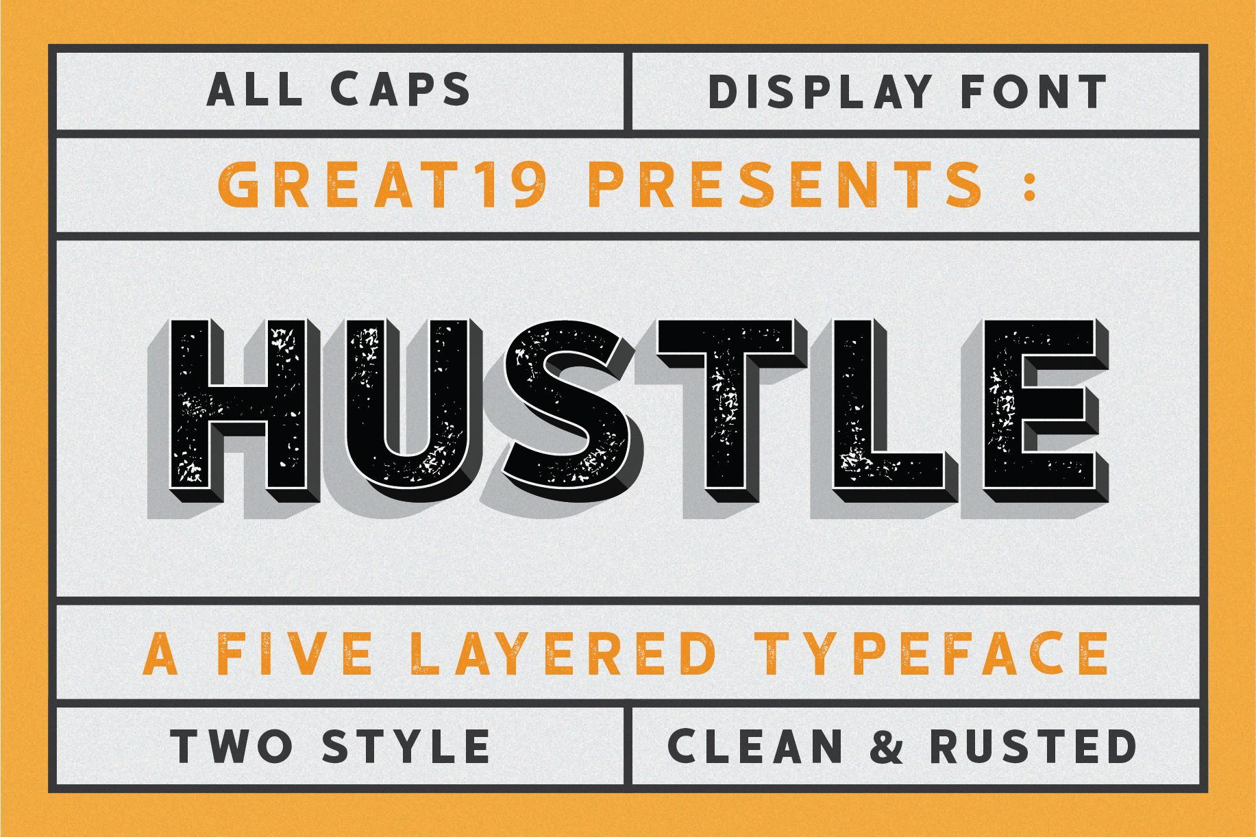 Hustle 5 Layers Display Font With Images Rustic Font