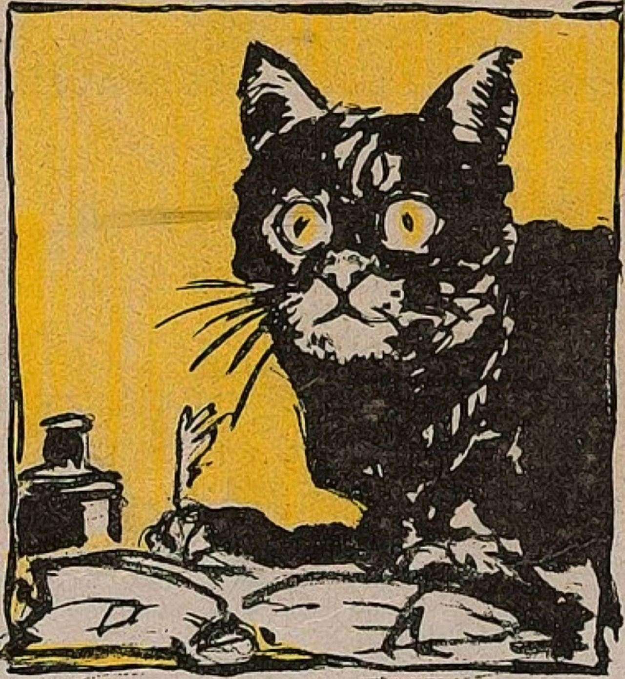 jugend 1919 black cat pop art retro vintage illustration feeling