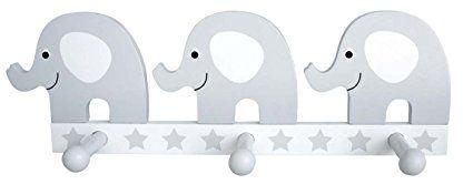 Wandgarderobe Elefant In Weiss Grau Susse Garderobe Fur Kinder