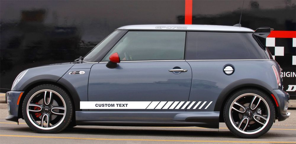 Custom Text Mini Jcw S Cooper Clubman Angled Side Door Racing Stripes Graphics Mini Cooper Racing Stripes Mini Cooper S