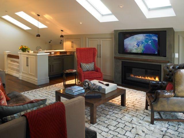 Wohnideen Wohnzimmer Dachschräge wohnzimmer mit schräge oberlichter tv möbel praktisch eingepasst im