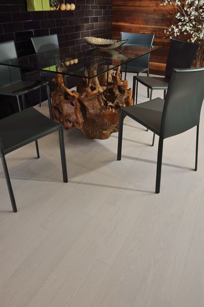 Mirage Floors, the world's finest and best hardwood floors. www.miragefloors.com #Mirage #Hardwood #Floor #Red #Oak #Nordic #Dining #Room