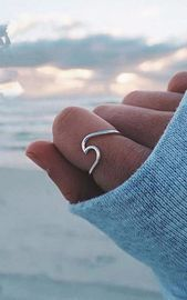 Photo of Cute simple surf waves dainty ring costume jewelry for teenage boho woman Nadin …