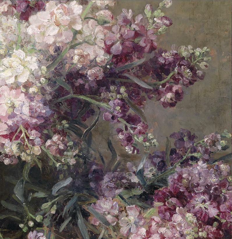 Marie Egner, Kupferschale mit weißen und rosa Blumen gefüllt
