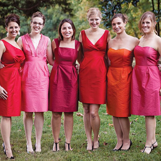 bec8d431daf The bridesmaids wore dresses by Simple Silhouettes in vibrant shades of  red