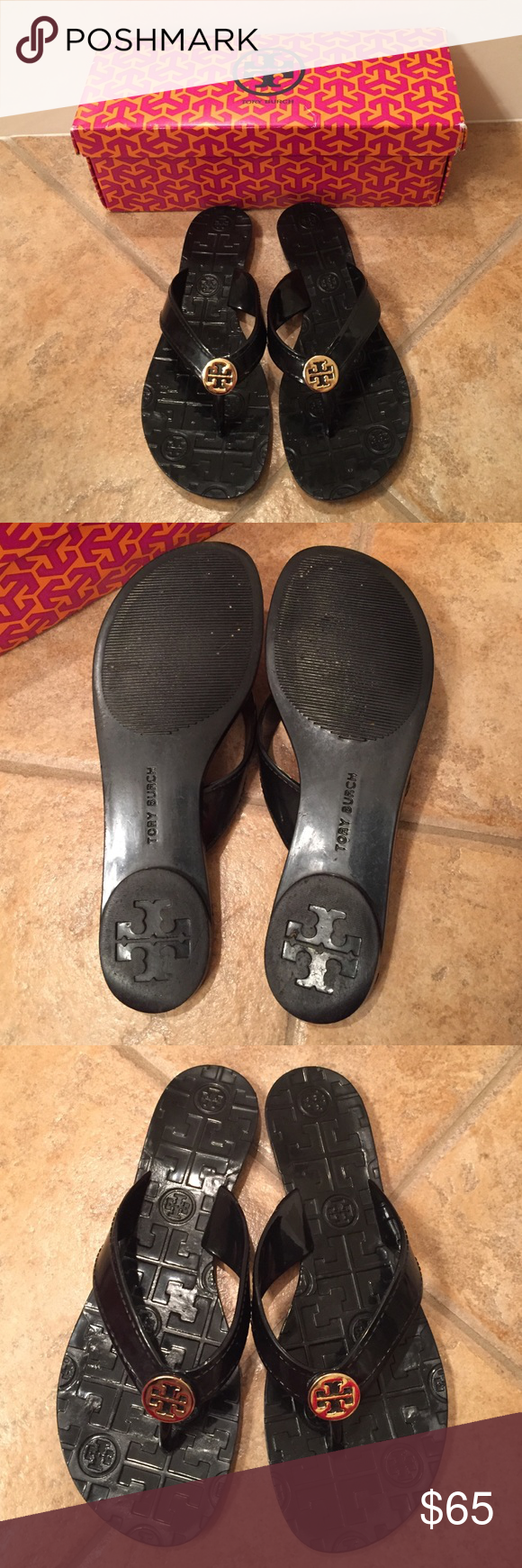 Tory Burch Flip Flops Gently used, black, Size 6. Perfect for the pool or beach! Tory Burch Shoes Sandals