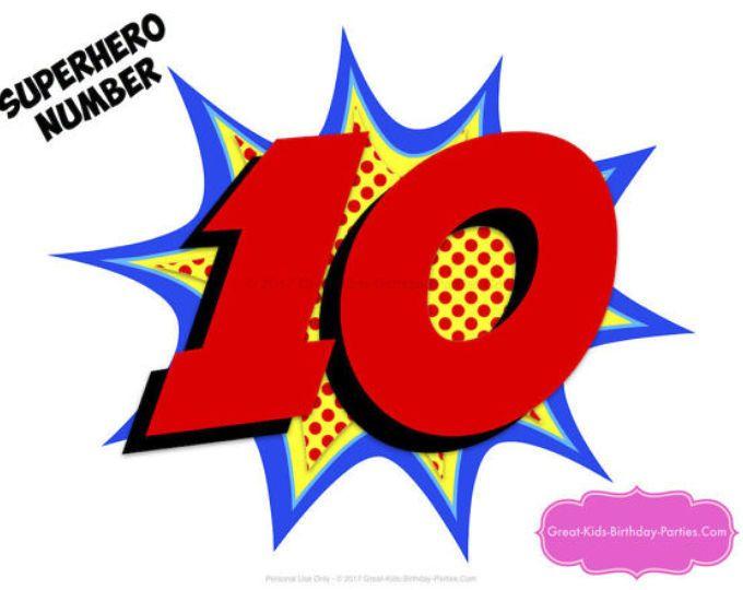 Superhero Number Superhero Printables Number 10 Superhero