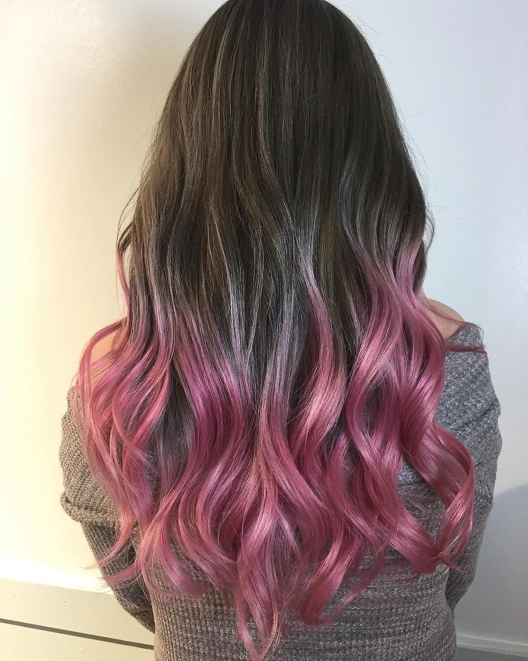 If You Can T Decide Between Pink And Brown The Answer Is Both Moses Haiier Used Overtone Vibrant Pink On Pink Purple Hair Pastel Pink Hair Ombre Pink Hair