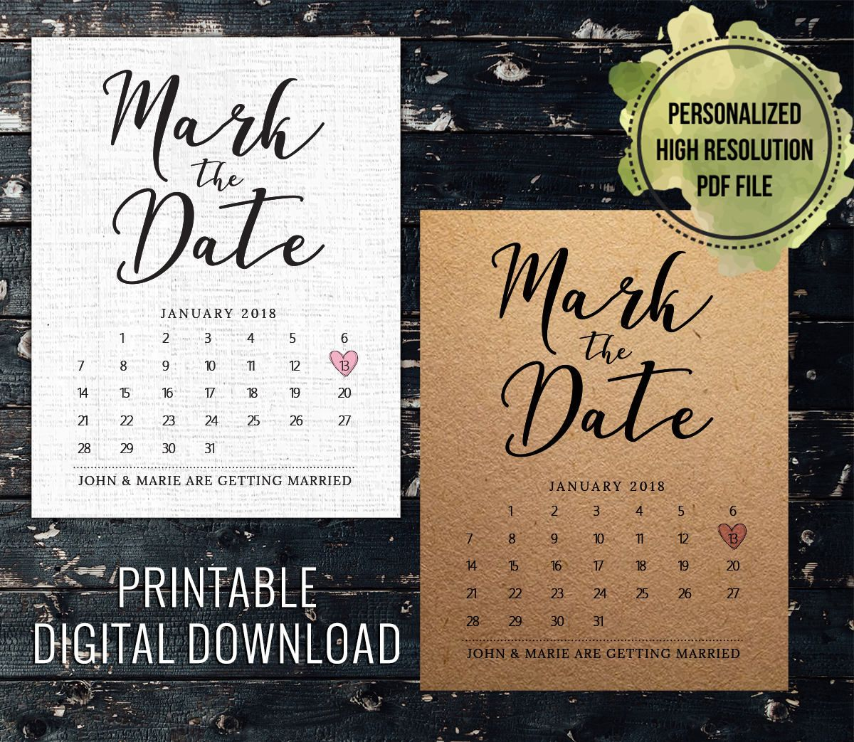 Mark the Date Template Download, Wedding Save the Date