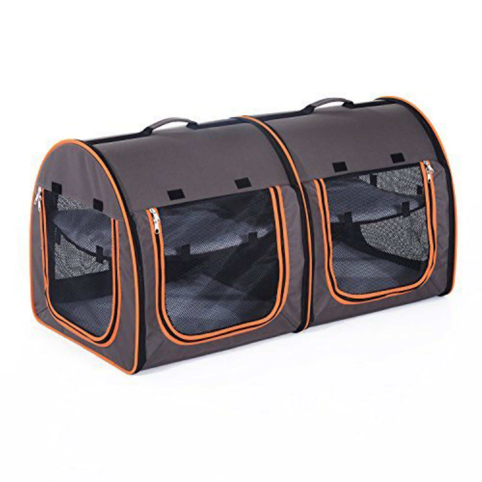 Grey//Brown Double One for Pets Fabric Portable Pet Kennel