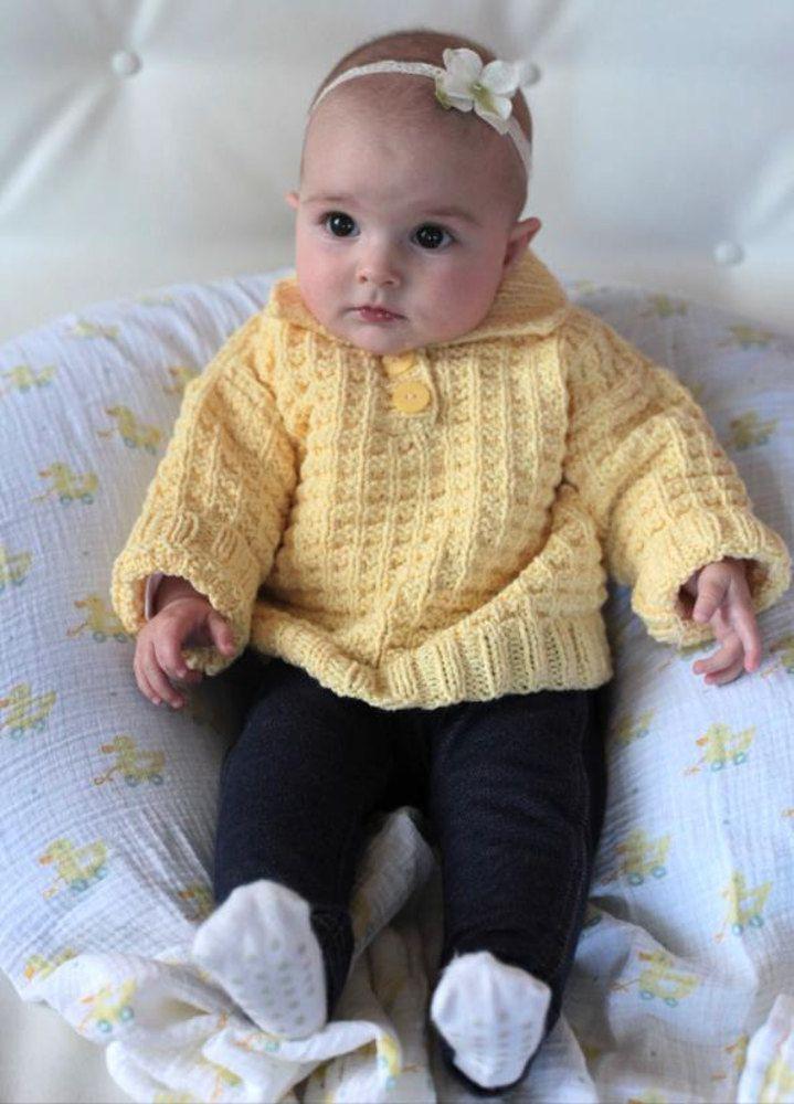 Waffle Knit Baby Polo Sweater In Plymouth Yarn Dandelion 2252