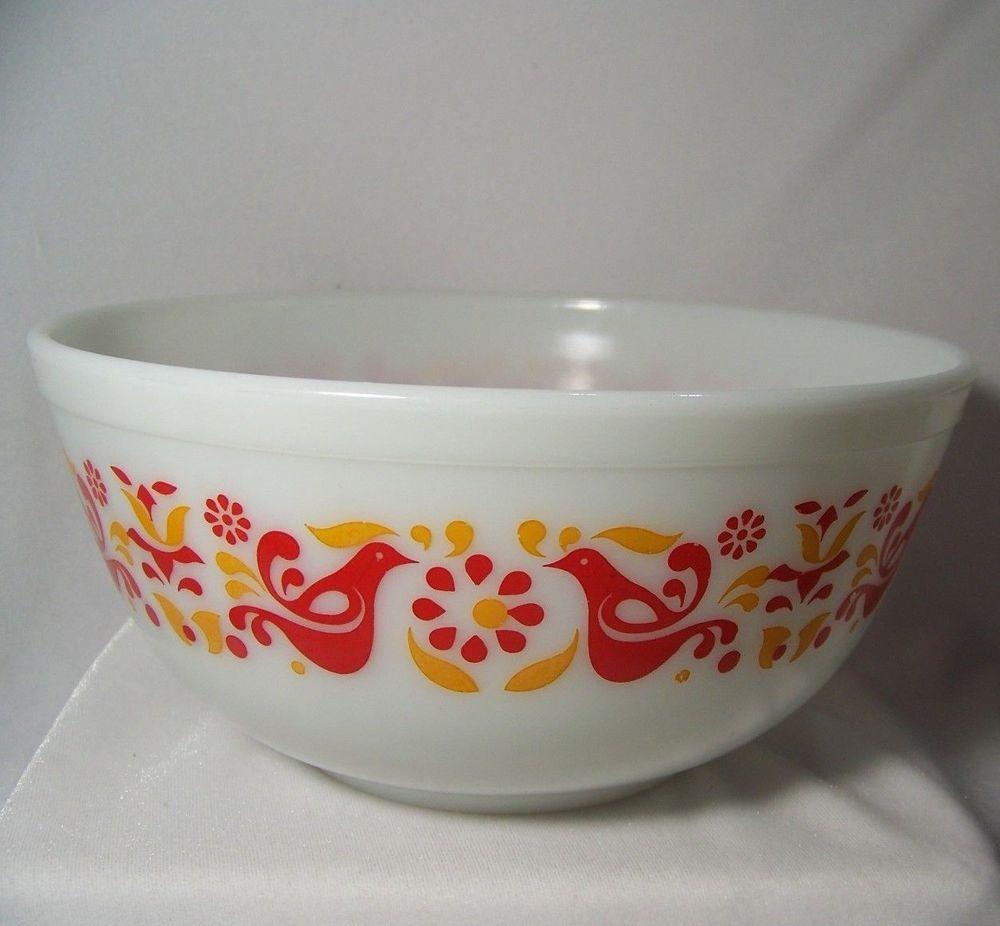 PYREX Friendship Mixing Bowl 403 2 1/2 qt Nesting Orange Red Birds ...
