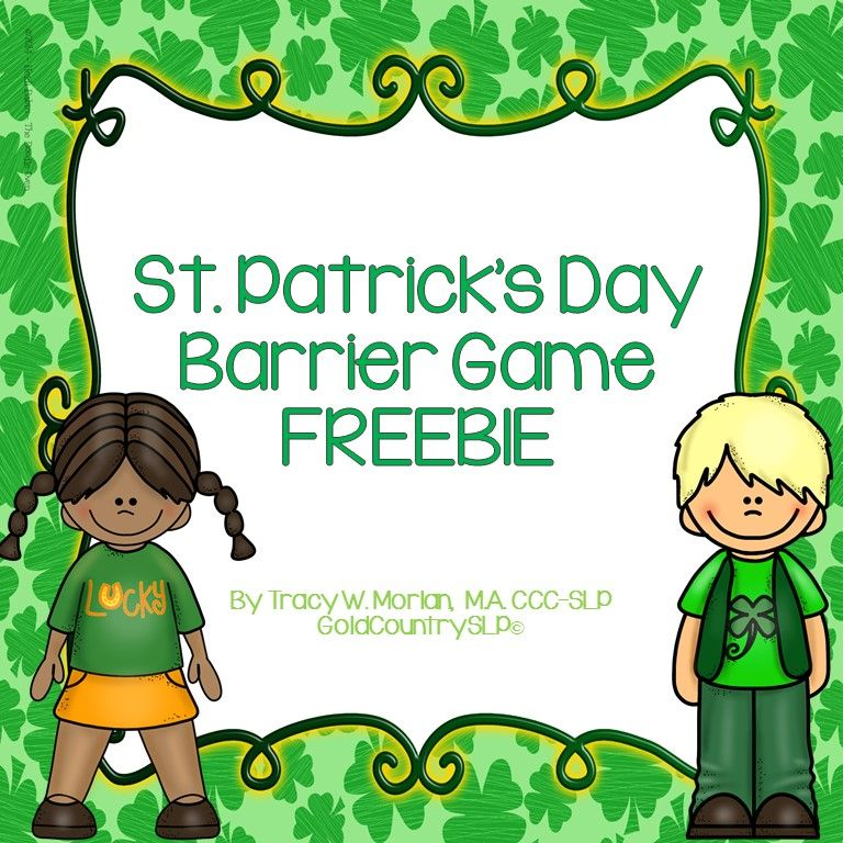 St. Patrick's Day Barrier Game FREEBIE Barrier games