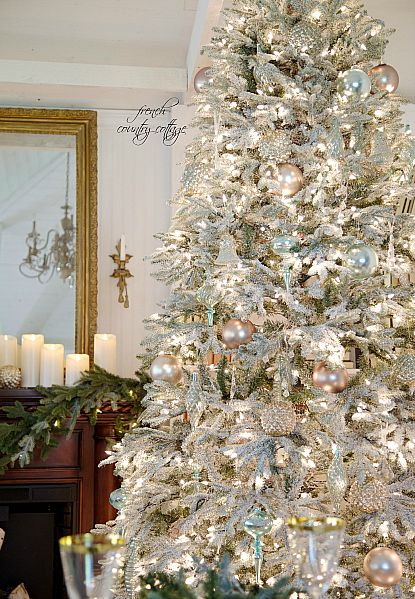 FRENCH COUNTRY COTTAGE Frosted/flocked Christmas tree Christmas