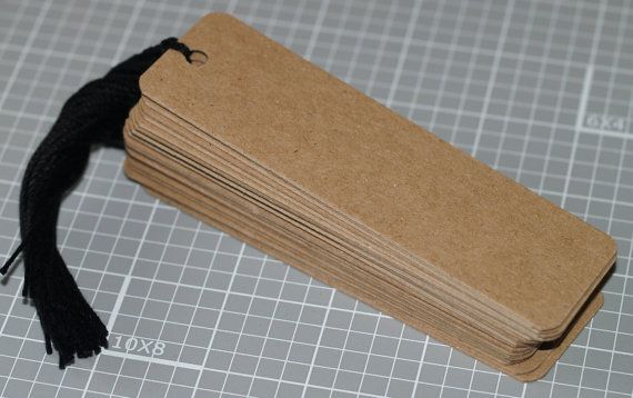 "Black n Tan ... 25 Chipboard Hang Tags . 1-3/8"" x 4-3/4"" . Rounded Corners . Rustic . Medium Weight . Cardstock . Price Tags . Prestrung"