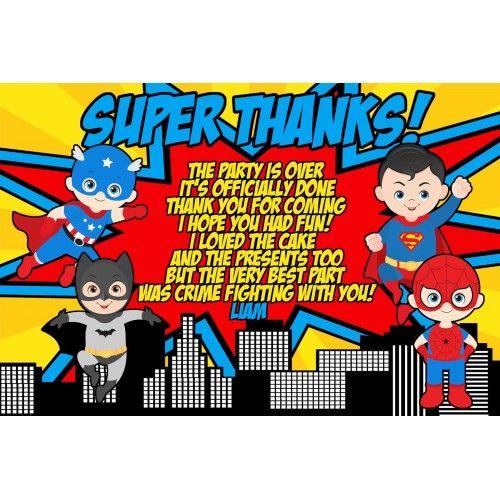 c67f4ebae2b88 Superhero Thank You Card | Super Hero Birthday Party | Superhero ...