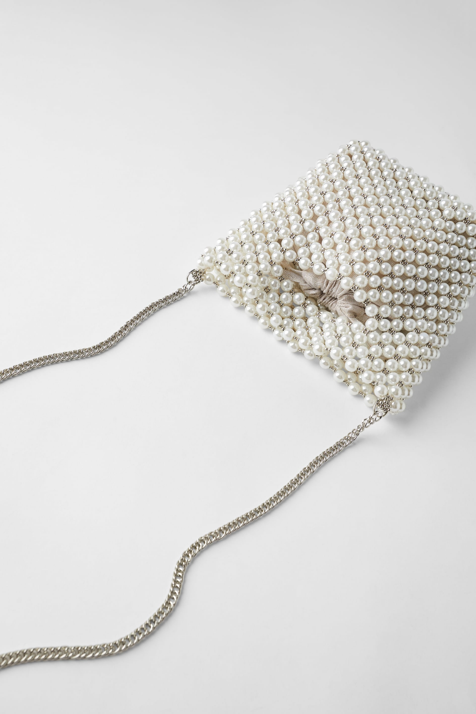 Pearl Bead Mini Bucket Bag View All Bags Woman Zara Malaysia Boncuklu Cantalar Cantalar Canta Modelleri