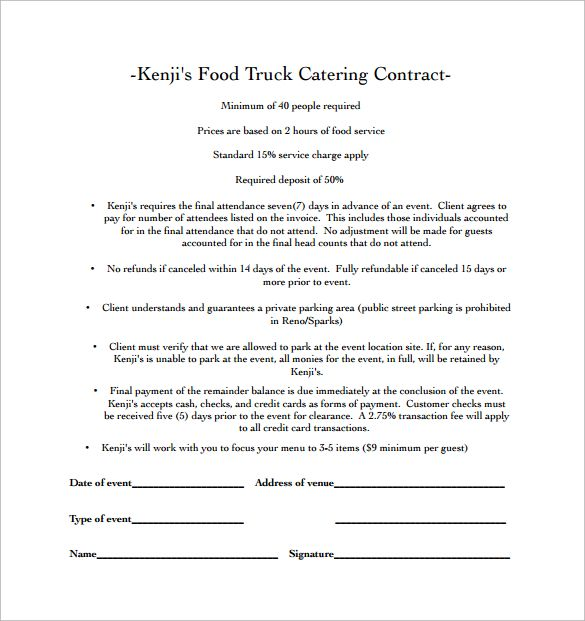 Food Truck Catering Contract PDF Free Download Catering - wedding contract templates