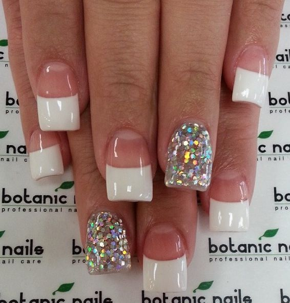 Short French Nail Design With Glitter Accent Finger Nailart Nails