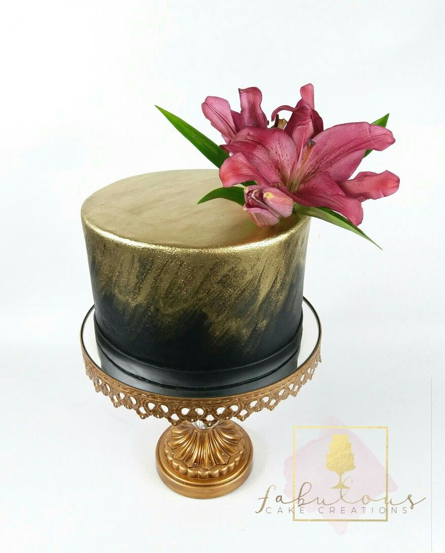 Remarkable Simple Black And Gold Cake Black And Gold Cake Gold Cake Cake Funny Birthday Cards Online Overcheapnameinfo