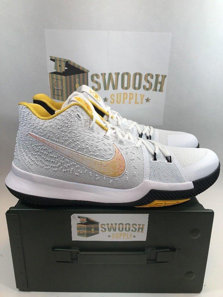 size 40 5aea3 a7910 NIKE KYRIE 3 N7 BASKETBALL SHOES WHITE YELLOW BLACK 899355-117 SIZE 8.5   NIKE  BasketballShoes