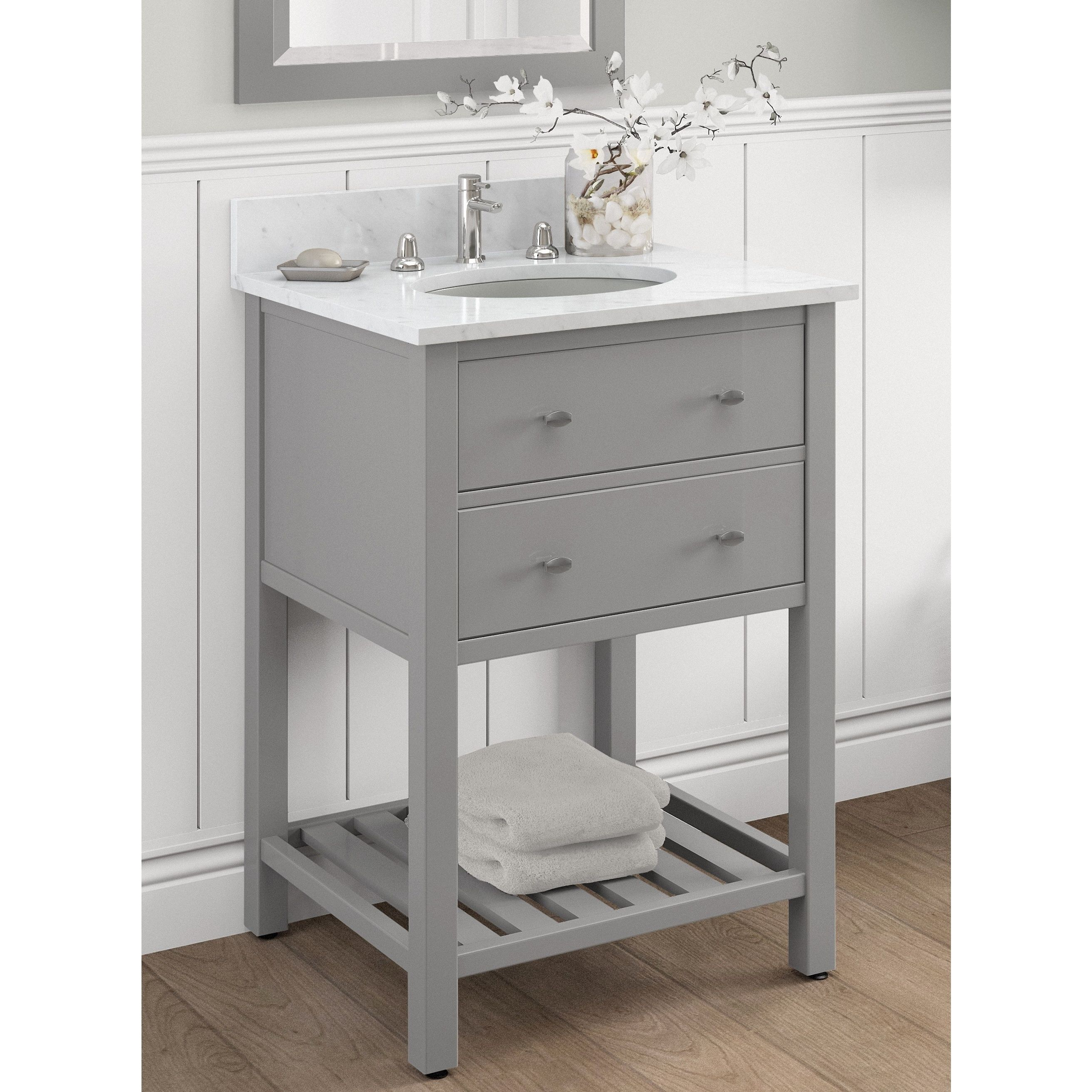 Alaterre Harrison 24 Inch Wood Single Sink Bath Vanity Grey Grey Finish Bath Vanities Single Sink Bathroom Vanity Bathroom Sink Vanity