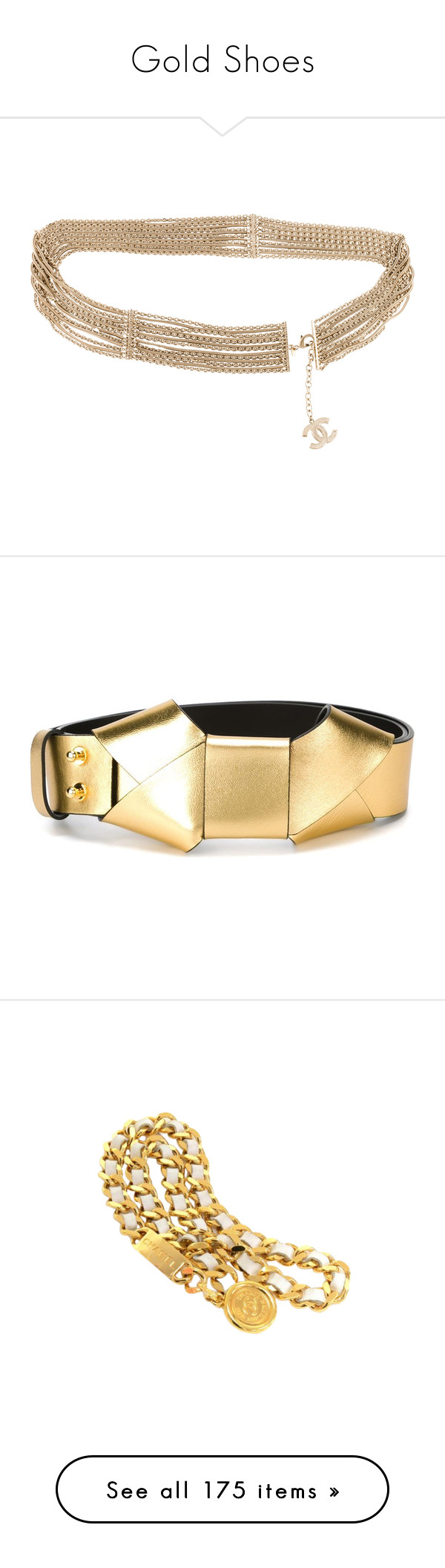 """""""Gold Shoes"""" by mskharrington ❤ liked on Polyvore featuring accessories, belts, gold, gold belt, gold waist belt, chanel, gold chain belt, chanel belt, metallic and bow belt"""