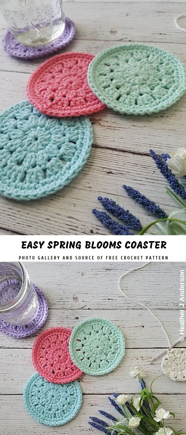 Spring Blooms Crochet Coaster with Free Pattern