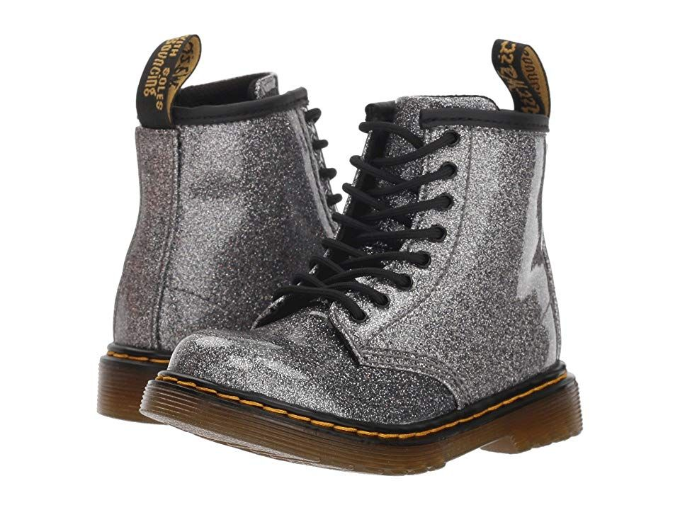 9bc358bb5b75 Dr. Martens Kid's Collection 1460 Patent Glitter Toddler Brooklee Boot  (Toddler) (Gunmetal