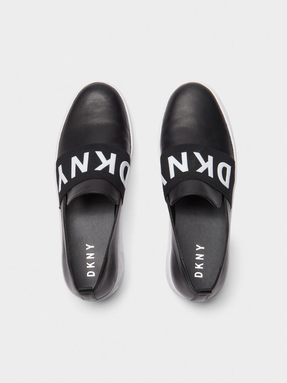 b463fa6587fa Dkny Alicia Leather Platform Slip On Sneaker - Black/White 6 ...