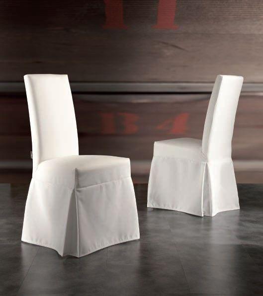 Chaise de salle à manger contemporaine avec housse en tissu blanche