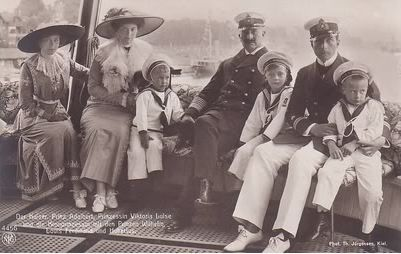 From left: VL; Crown Princess Cecilie of Germany: Prince Hubert; Kaiser Wilhelm II; Prince Louis Ferdinand;  Prince Oskar; Prince Wilhelm