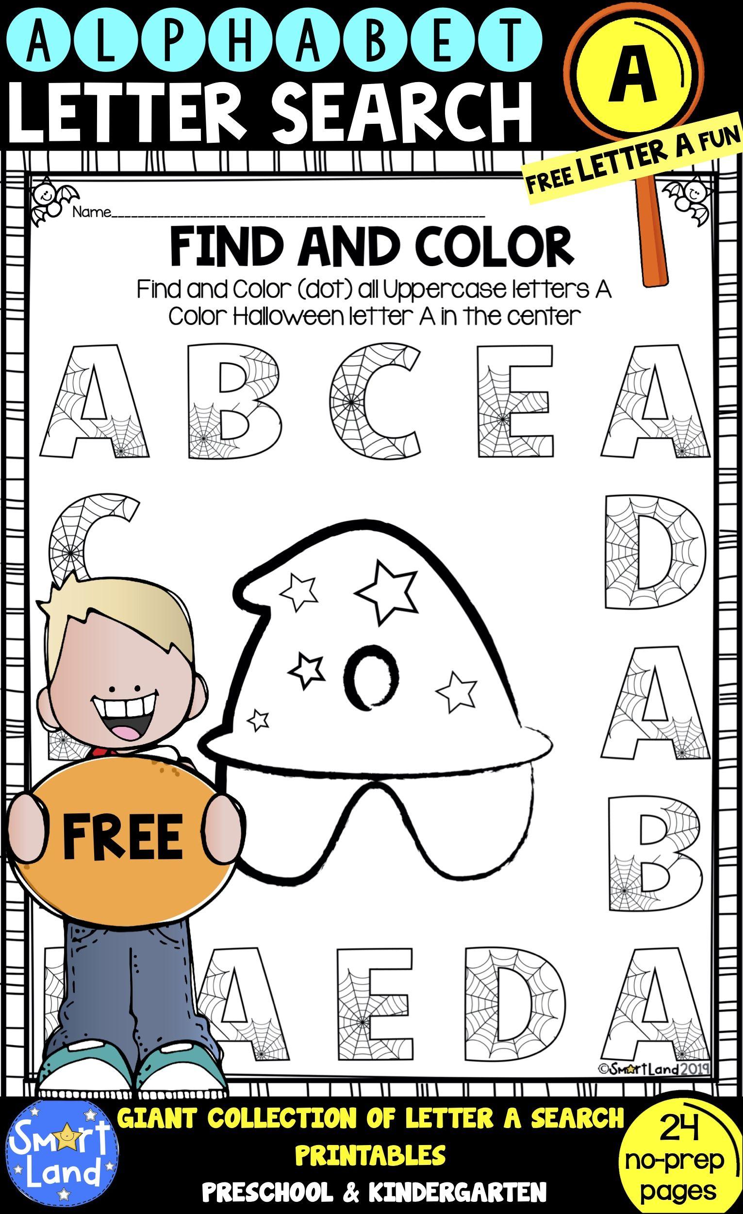 Alphabet Practice Free Letter A Search Worksheets Alphabet Practice Kindergarten Literacy Printables Alphabet Homework