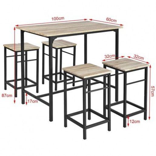 Set de 1 Table  4 Tabourets Ensemble table de bar bistrot Mange-debout haute cuisine OGT11-N SoBuy