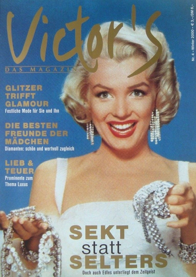 """Victor's - Winter 2000, magazine from Germany. Front cover publicity photo of Marilyn Monroe for """"How To Marry a Millionaire"""" by John Florea, 1953."""