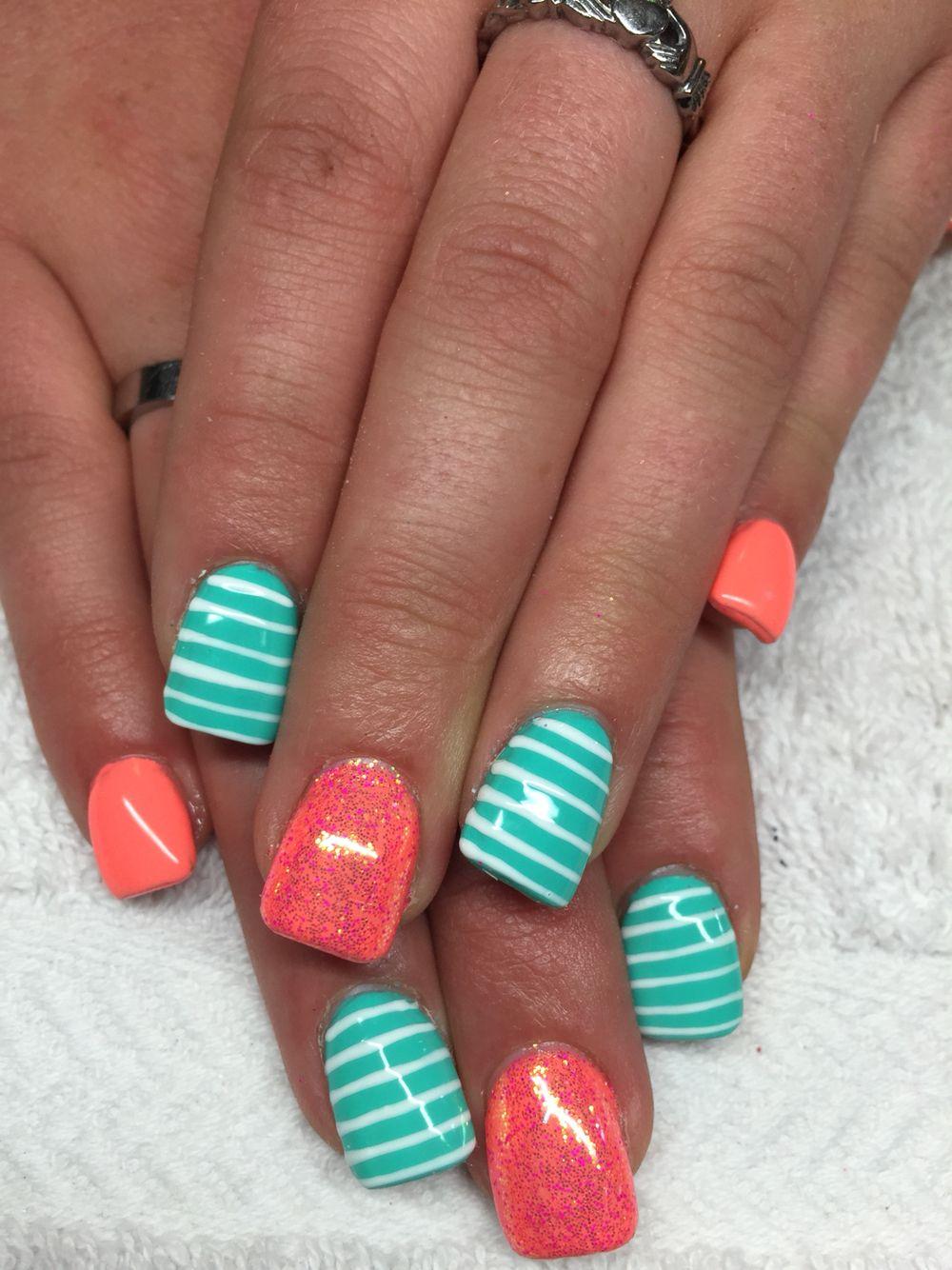 coral and aqua #nails #nailart