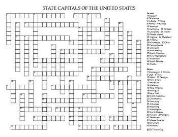 US State Capitals Crossword Puzzle   Crossword, U.s ...
