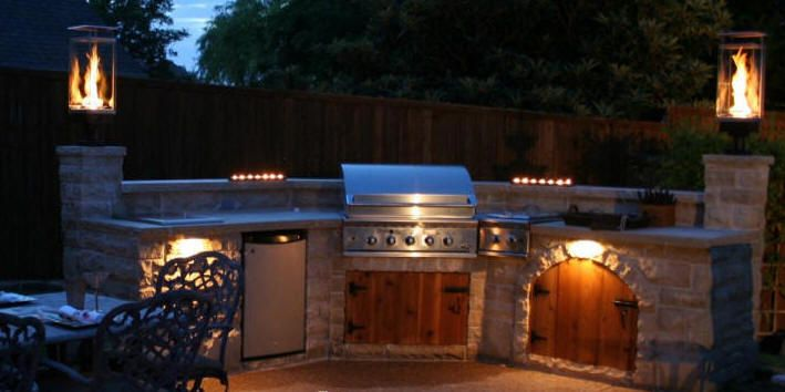Add a pizza oven and I'd be in heaven. | Outdoor kitchen ... on Outdoor Living Space Builders Near Me  id=69908