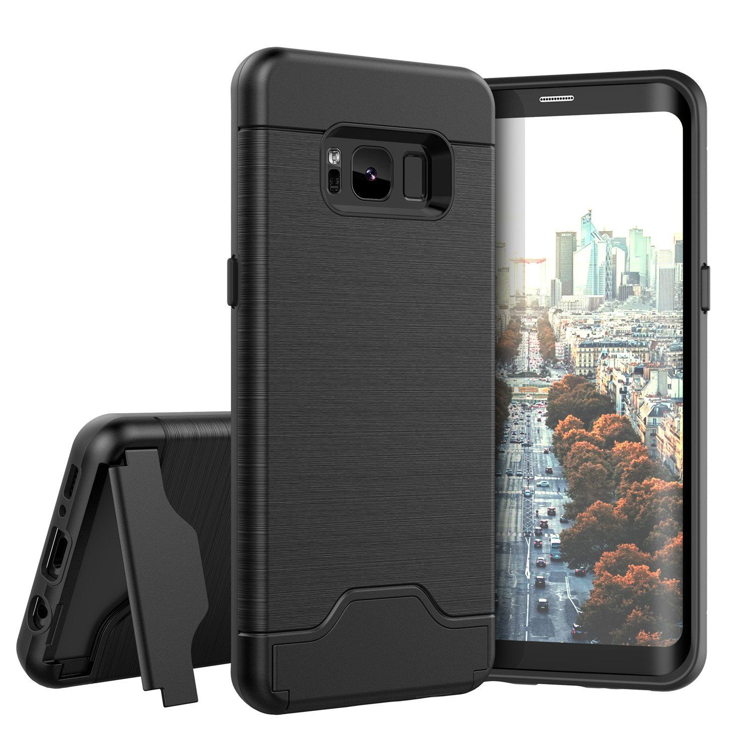 8fcfb027106 Raydem Samsung Galaxy S8 Case, Shockproof with Card Slot Holder and Built  in Kickstand,