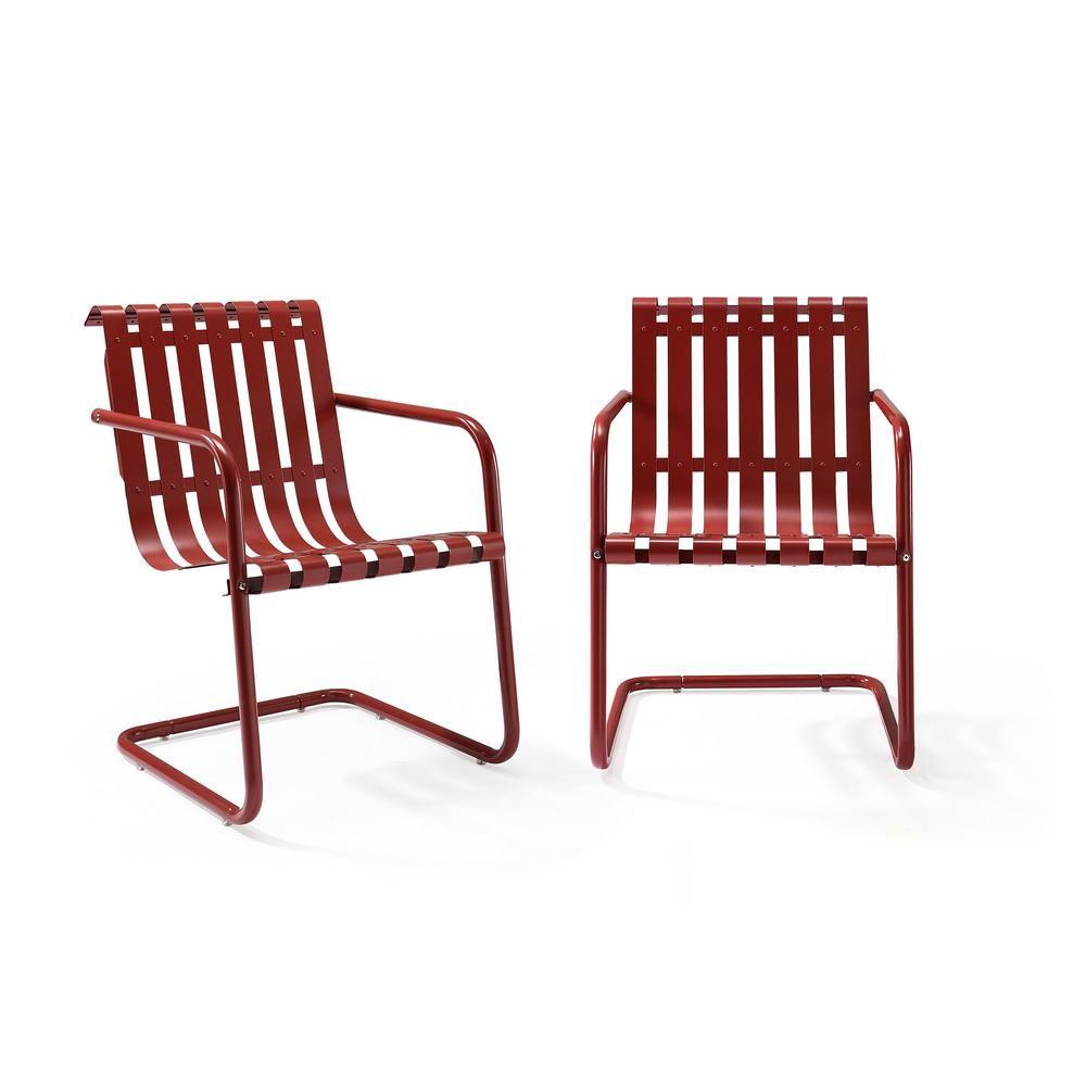 Crosley Gracie Red Metal Outdoor Chair Set Of 2 Co1020 Re Metal Outdoor Chairs Outdoor Chairs Accent Chair Set