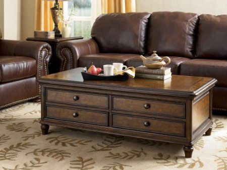 Amazon Com Dark Brown Cocktail Table With Storage Signature Design By Ashley Furniture Furniture Decor Furniture Ashley Furniture Coffee Table
