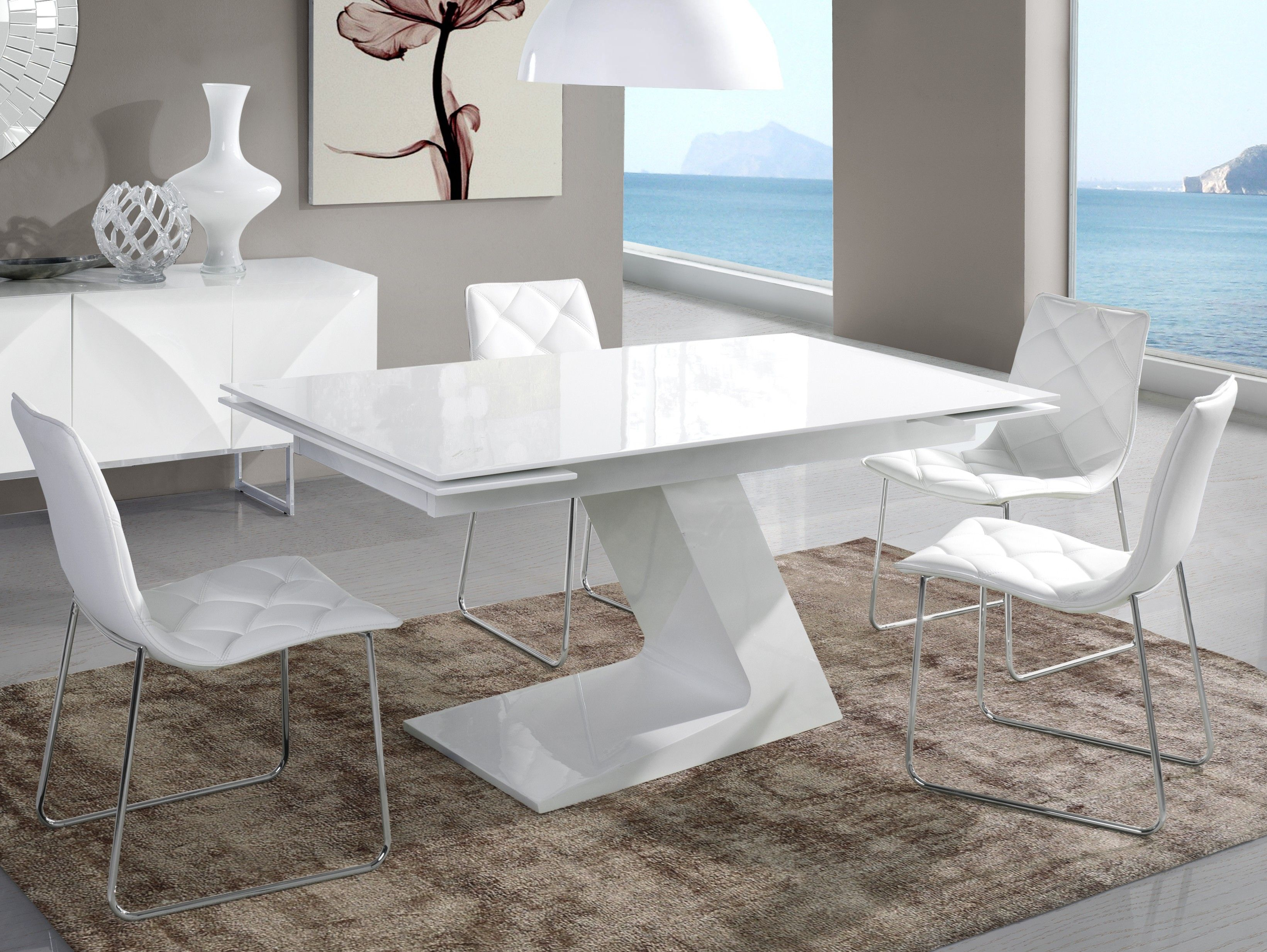 table extensible moderne blanc laquee