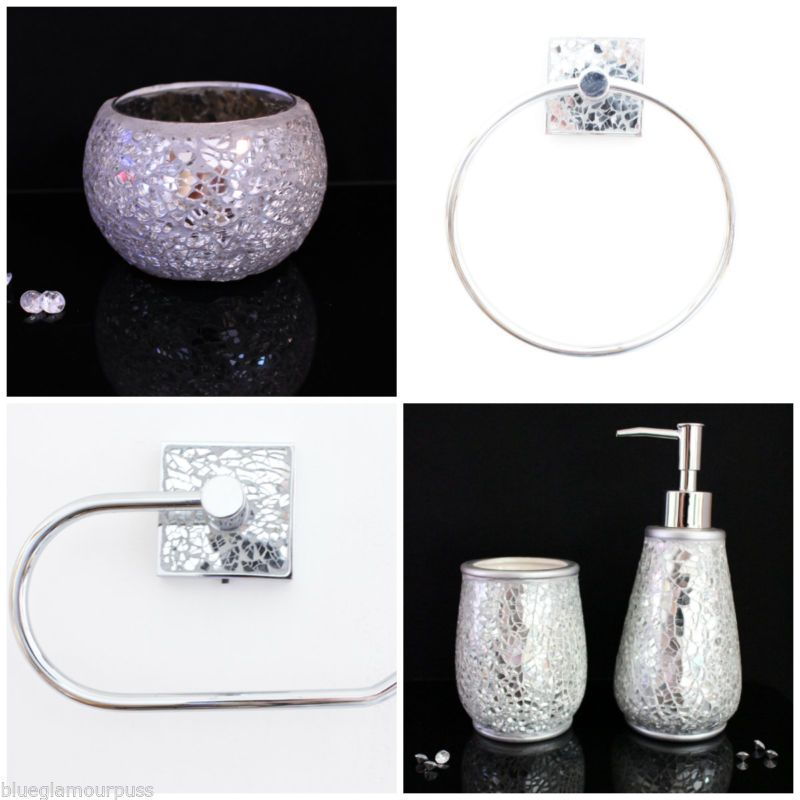 Crackle glass 5 piece bathroom set toilet roll holder for Crackle glass bathroom set
