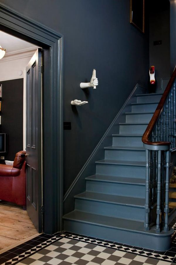 Dark Gray Walls Paint In 2019 Victorian Stairs Dark